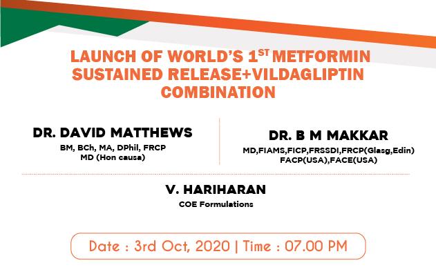 Launch of world's 1st Metformin sustained Release+Vildagliptin Combination